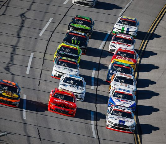 Chase Briscoe (98), Justin Allgaier (7) and Noah Gragson (9) lead the NASCAR Xfinity Series pack Saturday at Talladega Superspeedway. (HHP/Chris Owens Photo)