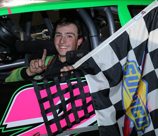 Christopher Buffone was all smiles after capturing the $1,000 winners prize in the Sunoco World Series Street Stock Open. (Matthew Wiernasz/WWLP22 News photo)