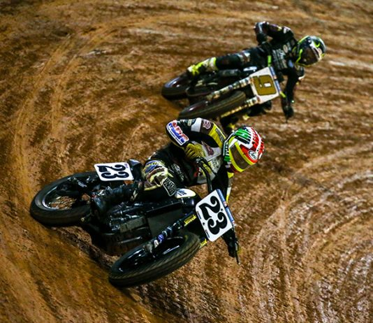 Jeffrey Carver Jr. (23) leads Jared Mees Friday at The Dirt Track at Charlotte. (AFT photo)