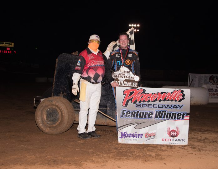 Scotty Farmer in victory lane at Placerville Speedway. (Devin Mayo photo)