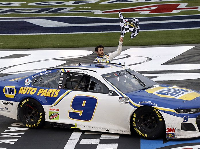 Chase Elliott won his fourth-straight NASCAR Cup Series road course event on Sunday on the Charlotte Motor Speedway ROVAL. (HHP/Andrew Coppley Photo)