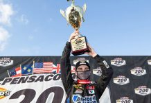 Sam Mayer won the ARCA Menards Series East championship and finale on Sunday at Five Flags Speedway. (Morgan Givens/ARCA Racing Photo)