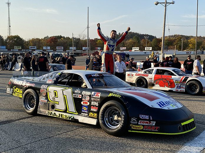 Ty Majeski celebrates his third victory in the Oktoberfest 200 at LaCrosse Fairgrounds Speedway.