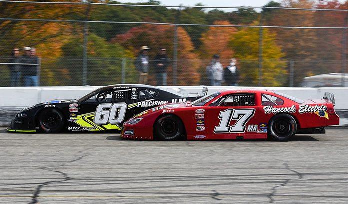 D.J. Shaw (60) battles Eddie MacDonald Sunday at Thompson Speedway Motorsports Park. (John DaDalt Photo)