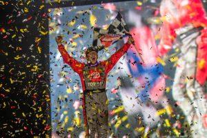 Max McLaughlin in victory lane Sunday night at Weedsport Speedway. (Ryan Hill photo)