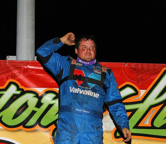 Brandon Sheppard celebrates after winning Sunday's MARS Racing Series feature at LaSalle Speedway. (Mike Ruefer Photo)