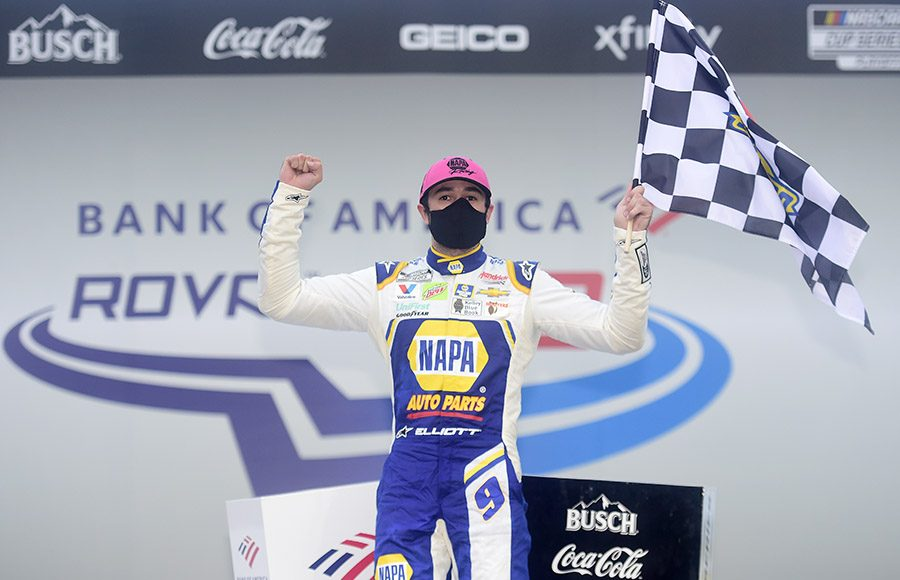 Chase Elliott celebrates his victory in Sunday's Bank of America ROVAL 400 at Charlotte Motor Speedway. (Jared C. Tilton/Getty Images Photo)