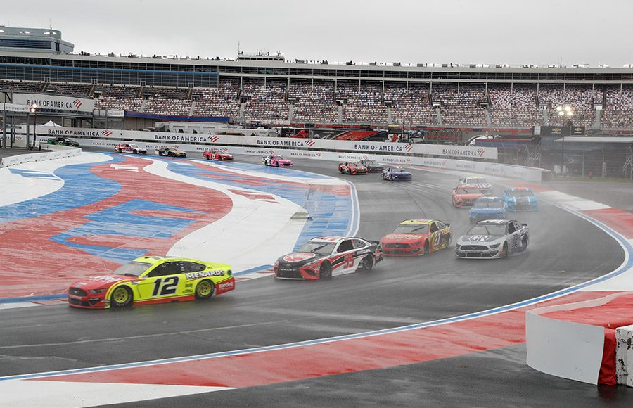 Ryan Blaney (12) leads Christopher Bell (95) and more during the Bank of America ROVAL 400 at Charlotte Motor Speedway. (HHP/Harold Hinson Photo)