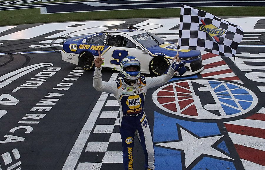 Chase Elliott celebrates at the start/finish line after winning the Bank of America ROVAL 400 at Charlotte Motor Speedway. (HHP/Andrew Coppley Photo)