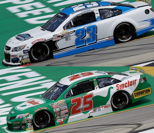 Bret Holmes (23) and Michael Self (25) will battle for the ARCA Menards Series championship tonight at Kansas Speedway. (HHP/Harold Hinson Photos)