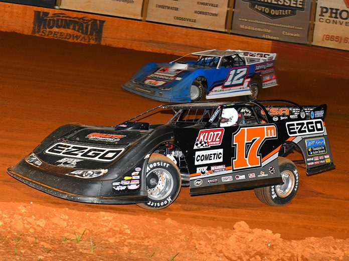 Dale McDowell (17m) battles Ashton Winger Friday night at Smoky Mountain Speedway. (Michael Moats Photo)