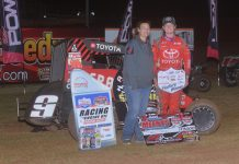 Daison Pursley in victory lane. (POWRi photo)