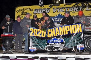 Jeremiah Hurst celebrates after claiming the Lucas Oil MLRA championship on Saturday. (Lloyd Collins Photo)