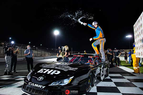 Buddy Shepherd celebrates his third title at Madera Speedway on Saturday night. (Jason Wedehase photo)