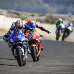 Alex Rins (42) outran Alex Marquez (73) for his first MotoGP victory of the season Sunday in Spain. (MotoGP Photo)
