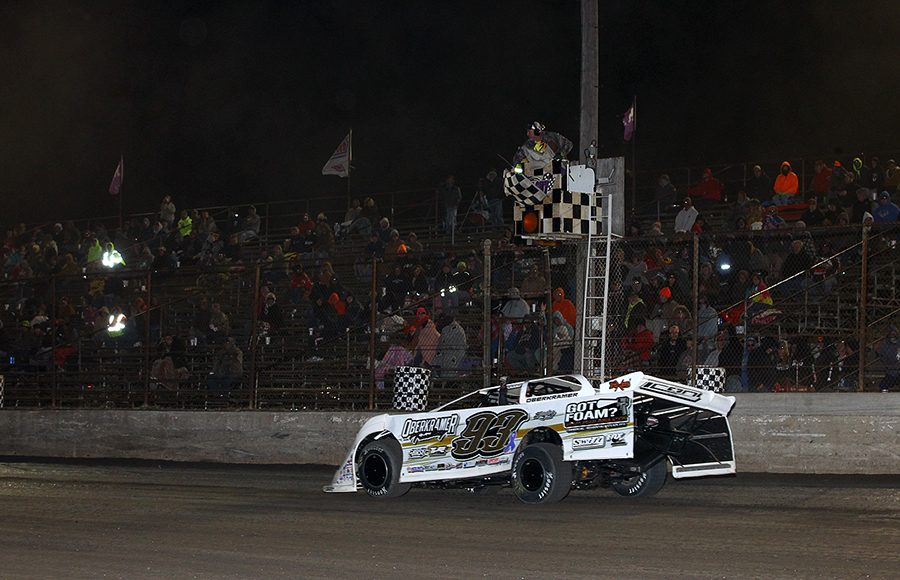 Mason Oberkramer takes the checkered flag to win Friday's Lucas Oil MLRA event at Tri-City Speedway. (Mike Ruefer Photo)