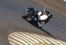 Tony Sollima races around the bowl at Chuckwalla during a recent test session on The Speed Merchant Harley-Davidson Electra Glide Standard. (Cali Photo)