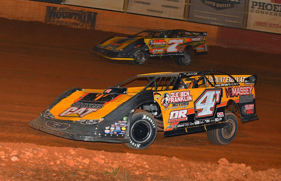 Teammates Tommy Kerr (4T) and Donald McIntosh (7m) race for position during Friday's Southern All Star Series event at Smoky Mountain Speedway. (Michael Moats Photo)