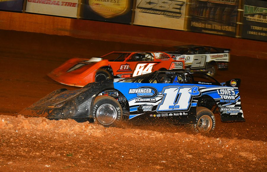 Stacy Boles (11B) tags the inside dirt getting under Austin Smith (84) and Robby Moses (21) during Friday's Southern All Star Series event at Smoky Mountain Speedway. (Michael Moats Photo)