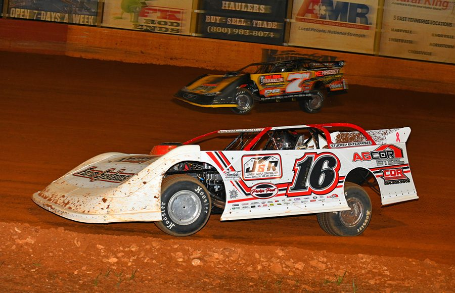 Sam Seawright (16) marches under Donald McIntosh during Friday's Southern All Star Series event at Smoky Mountain Speedway. (Michael Moats Photo)