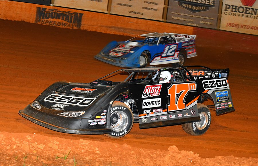 Dale McDowell (17m) battles Ashton Winger during Friday's Southern All Star Series event at Smoky Mountain Speedway. (Michael Moats Photo)