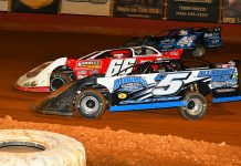 David Crabtree (C5), Jake Knowles (66) and Dalton Cook (44) race three-wide during Friday's Southern All Star Series event at Smoky Mountain Speedway. (Michael Moats Photo)