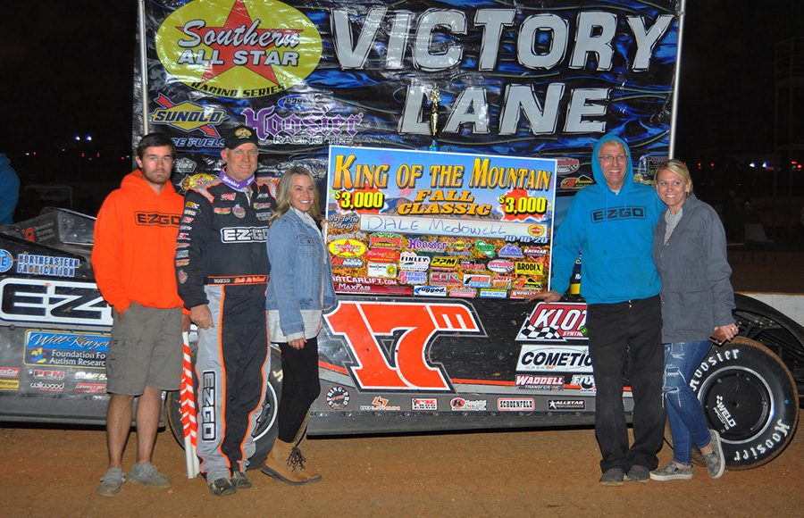 Dale McDowell and his team pose in victory lane after winning Friday's Southern All Star Series event at Smoky Mountain Speedway. (Michael Moats Photo)