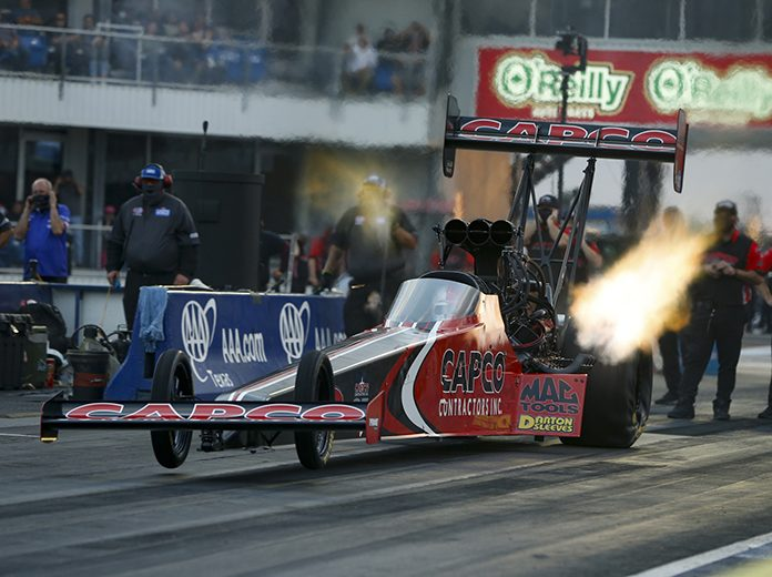 Steve Torrence bested his father Billy Torrence to win the Top Fuel portion of the 35th annual AAA Texas NHRA FallNationals. (NHRA Photo)