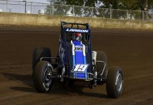 Kyle Larson on his way to victory in Sunday's Bettenhausen 100. (Mark Funderburk Photo)