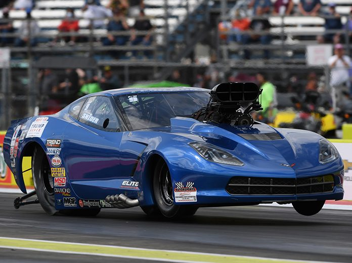Brandon Snider raced to his first E3 Spark Plugs NHRA Pro Mod Drag Racing Series presented by J&A Service victory Sunday at the Texas Motorplex. (NHRA Photo)