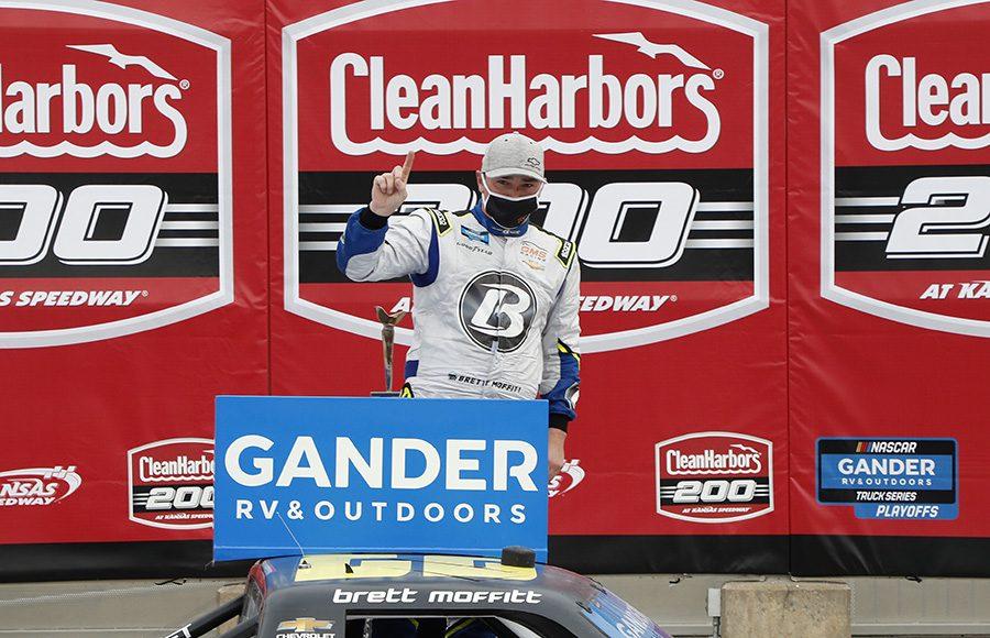 Brett Moffitt celebrates in victory lane after winning Saturday's NASCAR Gander RV & Outdoors Truck Series race at Kansas Speedway. (HHP/Harold Hinson Photo)