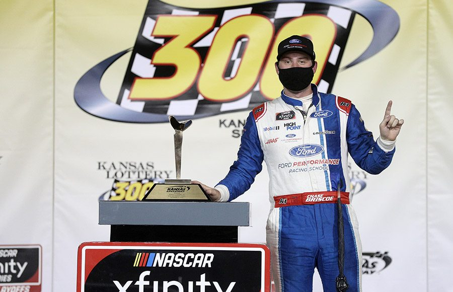 Chase Briscoe poses in victory lane after winning Saturday's NASCAR Xfinity Series race at Kansas Speedway. (Chris Graythen/Getty Images Photo)