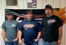 Jon Courchaine (center) of Sniper Speedway with Jason Wilkey (right) and Travis Mosley (left) of Shaw Race Cars.