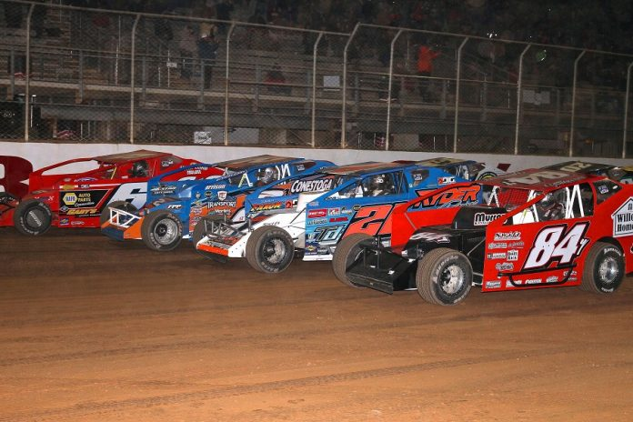 The four-wide parade lap prior to Saturday's Short Track Super Series Speed Showcase 200 at Port Royal Speedway. (Dan Demarco photo)