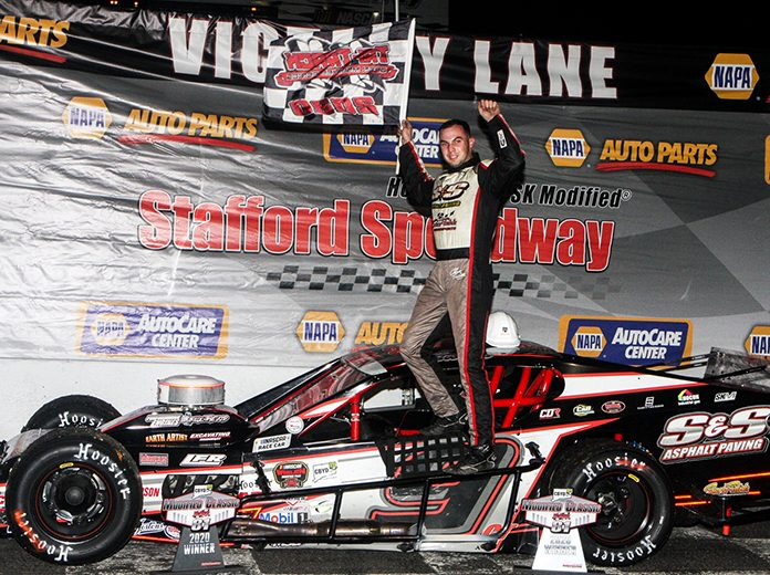 Chase Dowling banked $10,000 for winning the Tri Track Open Modified Series feature Saturday at Stafford Motor Speedway. (Dick Ayers Photo)