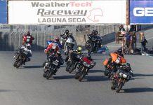 The King of the Baggers gets underway at WeatherTech Raceway Laguna Seca with Frankie Garcia getting the holeshot over turn one on Saturday. (Brian J. Nelson Photo)