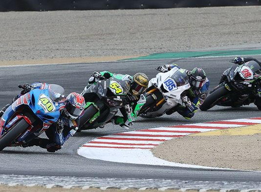 Sean Dylan Kelly (40) leads Richie Escalante (54), J.D. Beach (195) and Cory Ventura (28) in Supersport action from WeatherTech Raceway Laguna Seca on Sunday. (Brian J. Nelson Photo)