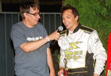Bryan Gapinski (left) interviews Badger feature winner Bryan Stanfill at Wisconsin's Angell Park Speedway on June 8, 2017. (Stan Kalwasinski Photo)