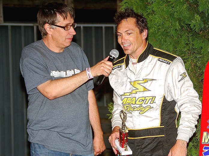 Bryan Gapinski (left) interviews Badger feature winner Bryan Stanfill at Wisconsin's Angell Park Speedway on June 8, 2017. (Stan Kalwasinski Photo)