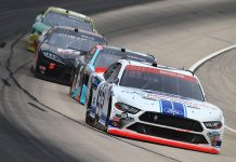Chase Briscoe (98) leads a pack of cars during Saturday's NASCAR Xfinity Series race at Texas Motor Speedway. (HHP/Jim Fluharty Photo)