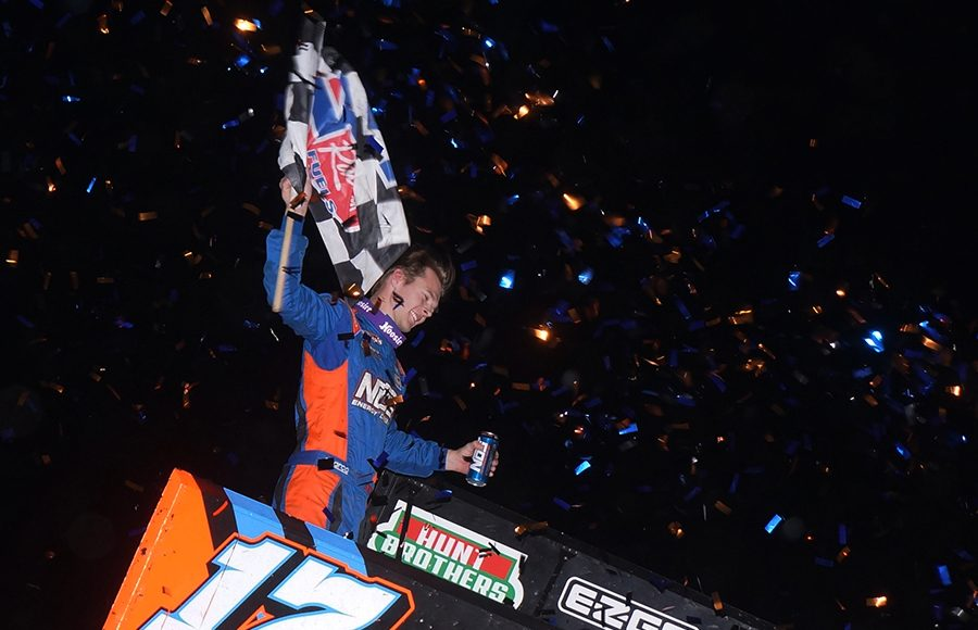 Sheldon Haudenschild celebrates after winning Saturday's World of Outlaws NOS Energy Drink Sprint Car Series feature at Kokomo Speedway. (Gary Gasper Photo)