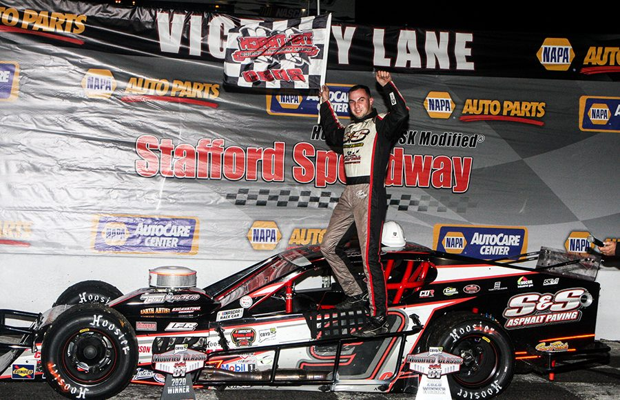 Chase Dowling celebrates after winning Saturday's Tri Track Open Modified Series race at Stafford Motor Speedway. (Dick Ayers Photo)