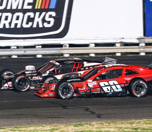 Matt Hirschman (60) battles Chase Dowling during Saturday's Tri Track Open Modified Series race at Stafford Motor Speedway. (Dick Ayers Photo)