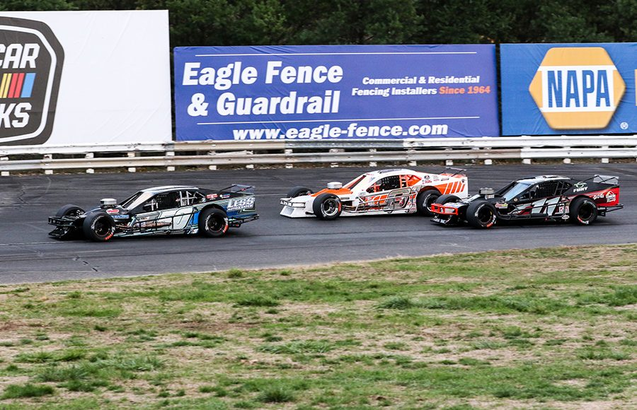 Ronnie Williams (50), Ryan Preece (6) and Burt Myers race for position during Saturday's Tri Track Open Modified Series race at Stafford Motor Speedway. (Dick Ayers Photo)