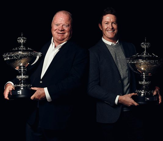 Scott Dixon (right) and team owner Chip Ganassi (left) were honored Thursday after capturing the NTT IndyCar Series championship. (IndyCar Photo)