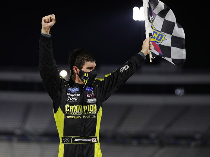 Grant Enfinger celebrates after winning Friday's NASCAR Hall of Fame 200 at Martinsville Speedway. (HHP/Andrew Coppley Photo)