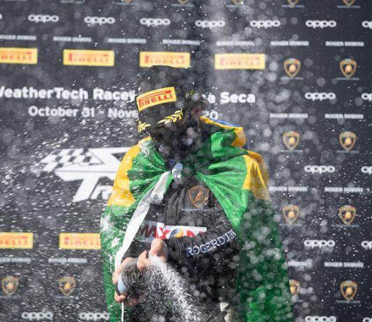Sergio Jimenez celebrates his second Lamborghini Super Trofeo North America victory in as many days Sunday at WeatherTech Raceway Laguna Seca. (Jamey Price Photo)