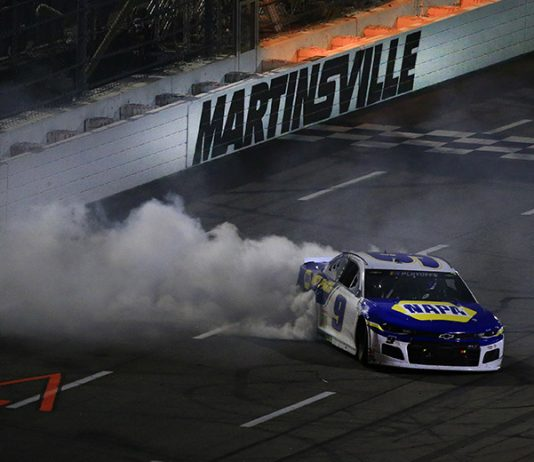 Chase Elliott celebrates with a burnout after his win in Sunday's Xfinity 500 at Martinsville Speedway. (HHP/Jim Fluharty Photo)