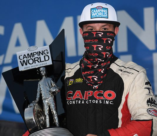 Steve Torrence earned his third NHRA Top Fuel title on Sunday in Las Vegas. (NHRA Photo)