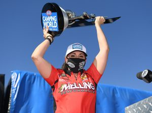 Erica Enders claimed her fourth NHRA Pro Stock title on Sunday In Las Vegas. (NHRA Photo)
